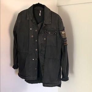 Free People black utility jacket